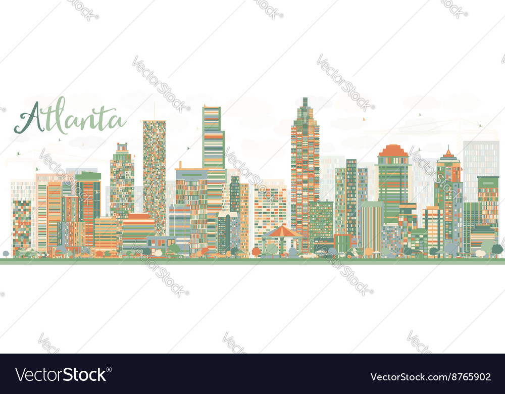 abstract atlanta skyline with color buildings vector image