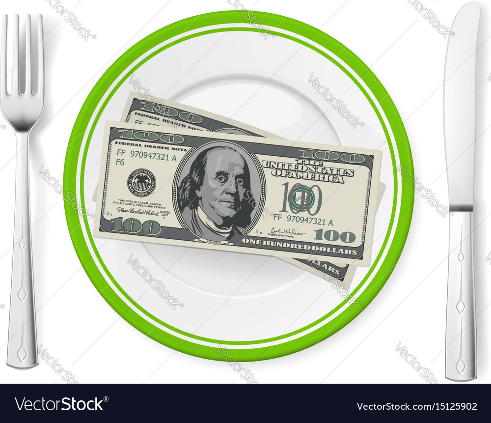 Banknotes on a plate on white
