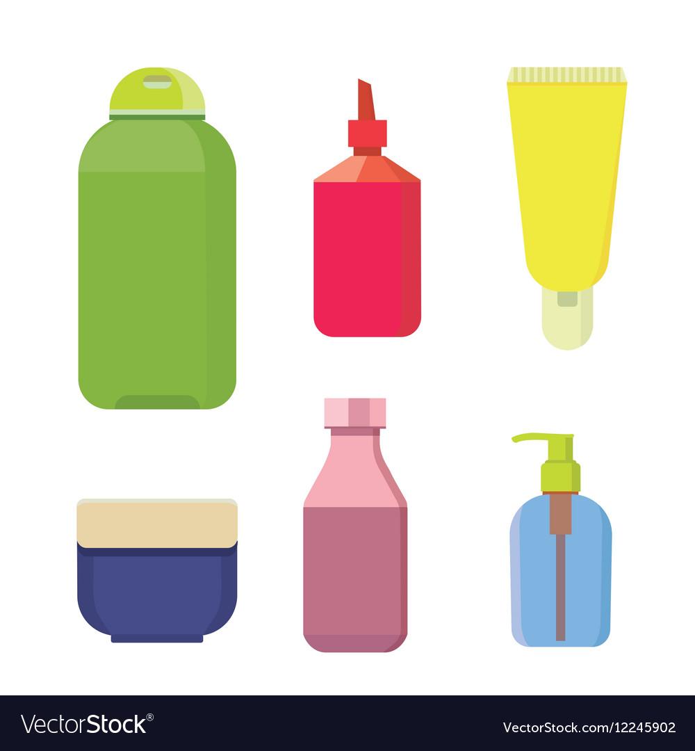 Cosmetic bottles color set Beauty shampoo