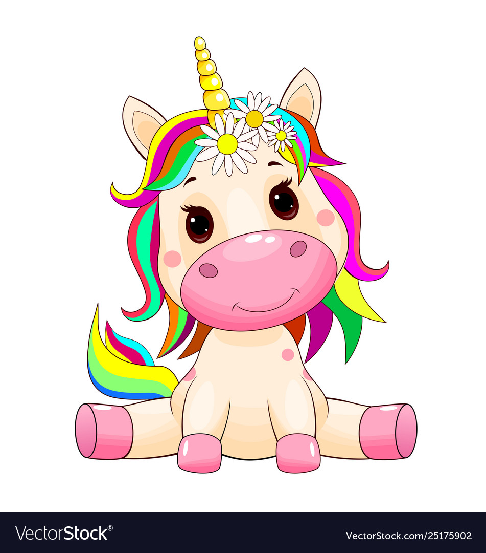 Cute unicorn baby Royalty Free Vector Image - VectorStock