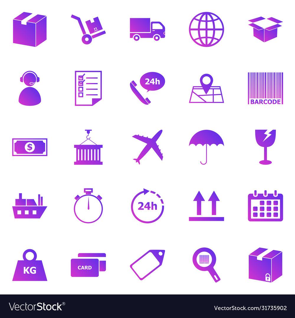 Logistics gradient icons on white background