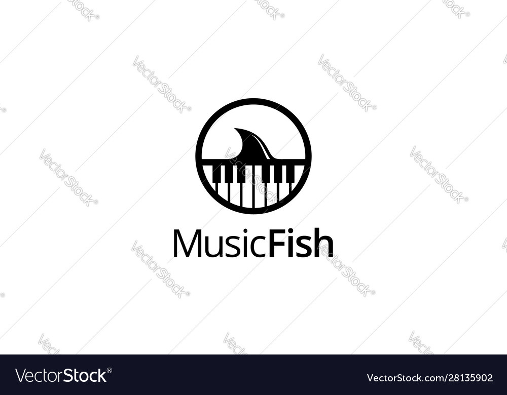 Music anf fish logo concept