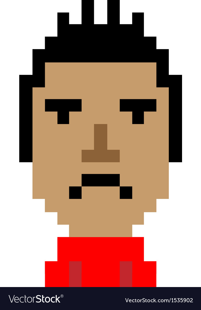 Red shirt man bored emoticon pixel art character