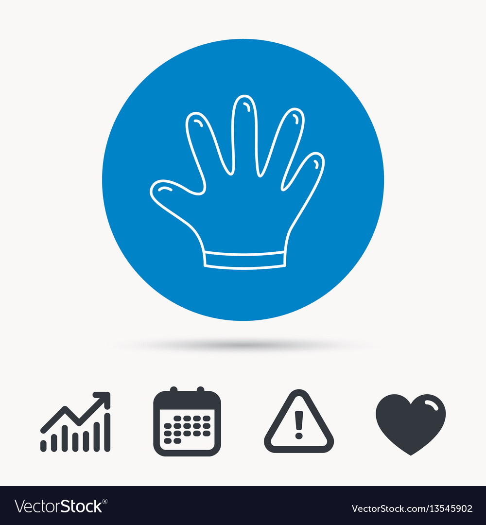 Rubber gloves icon latex hand protection sign
