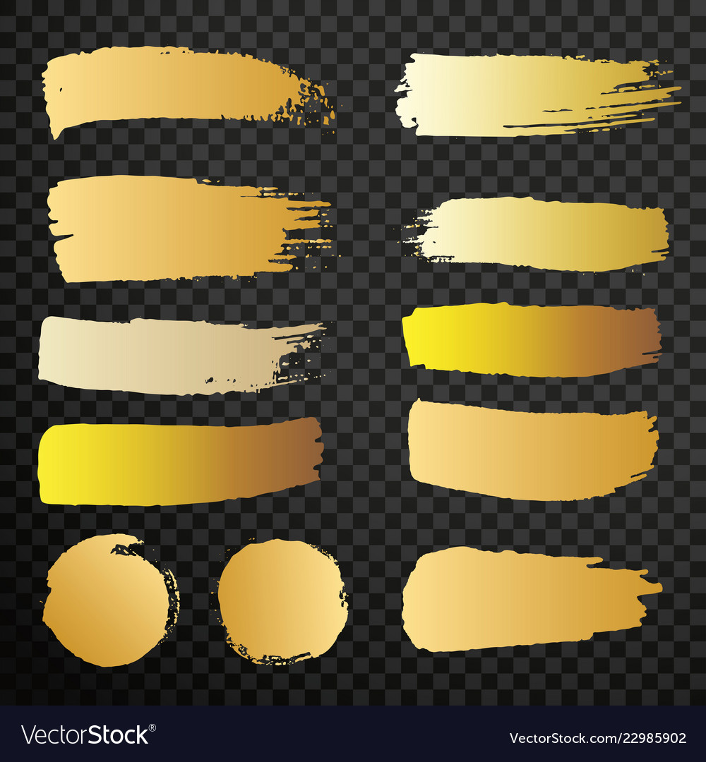 Set of golden paint brush isolated strokes for