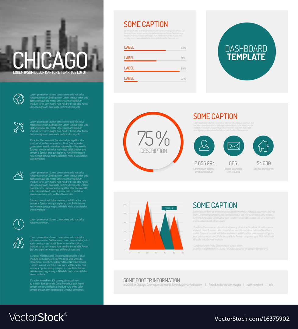 simple infographic dashboard template royalty free vector