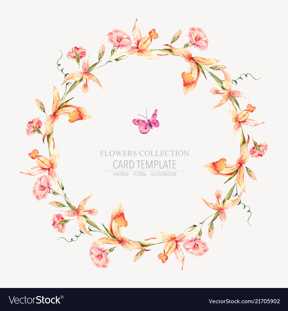 Vintage floral round wreath with yellow