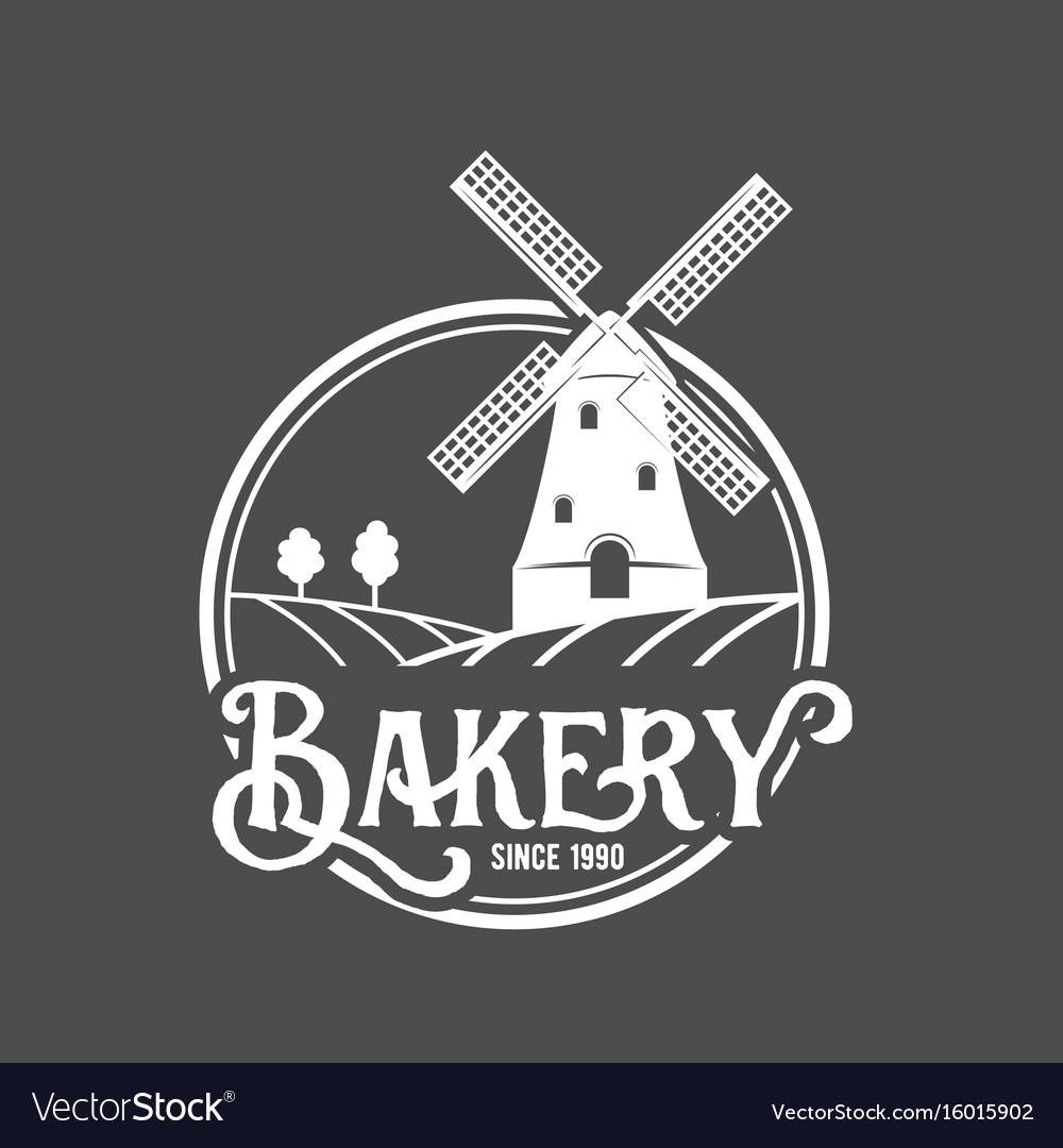 Vintage retro bakery logo badge and label
