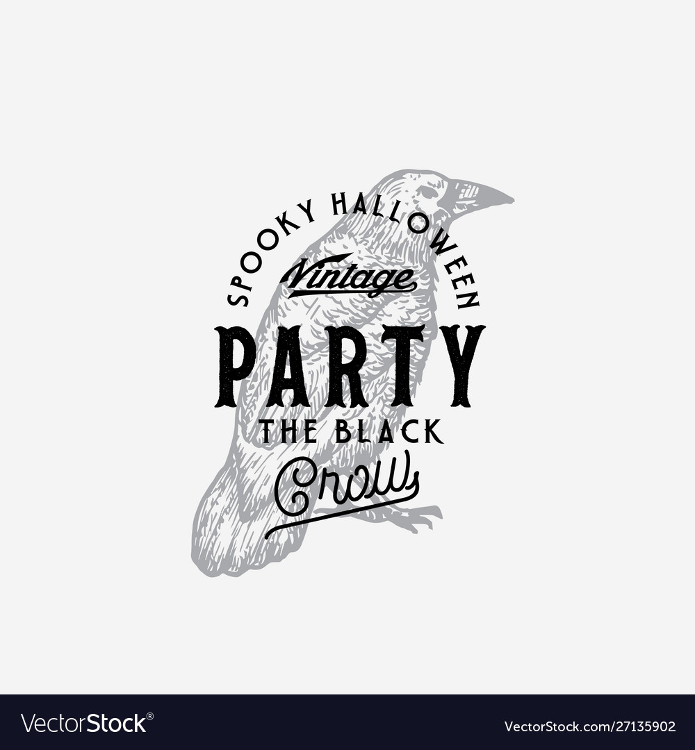 Vintage style party halloween logo or label