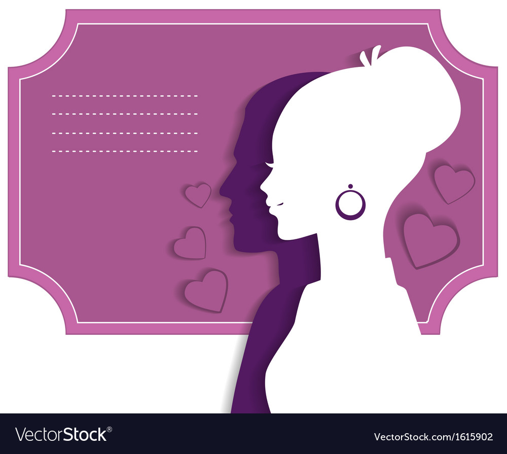 Wedding card with couple vector image