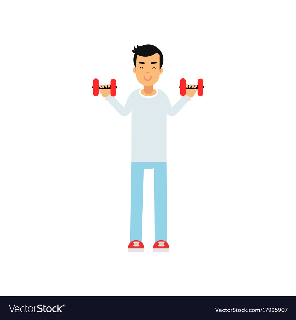 Active teen boy exercising with dumbells active