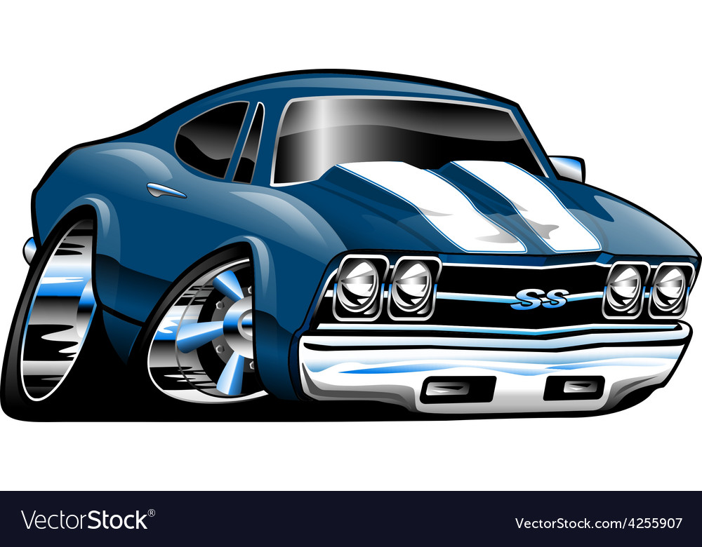 american classic muscle car cartoon royalty free vector rh vectorstock com Muscle Trucks Cartoon Drawings Muscle Car Pencil Drawings