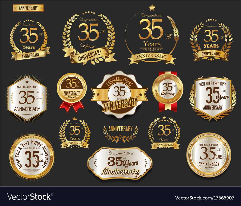 Anniversary golden laurel wreath and badges 35