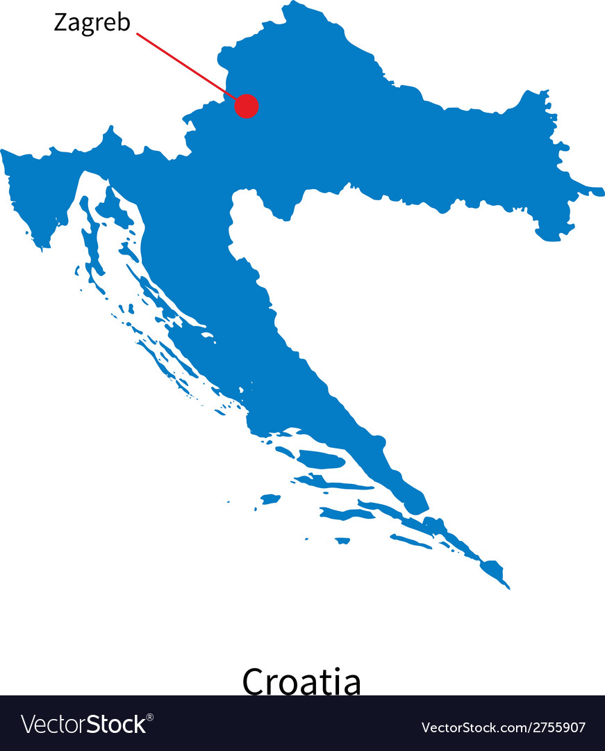 Detailed map of Croatia and capital city Zagreb vector image