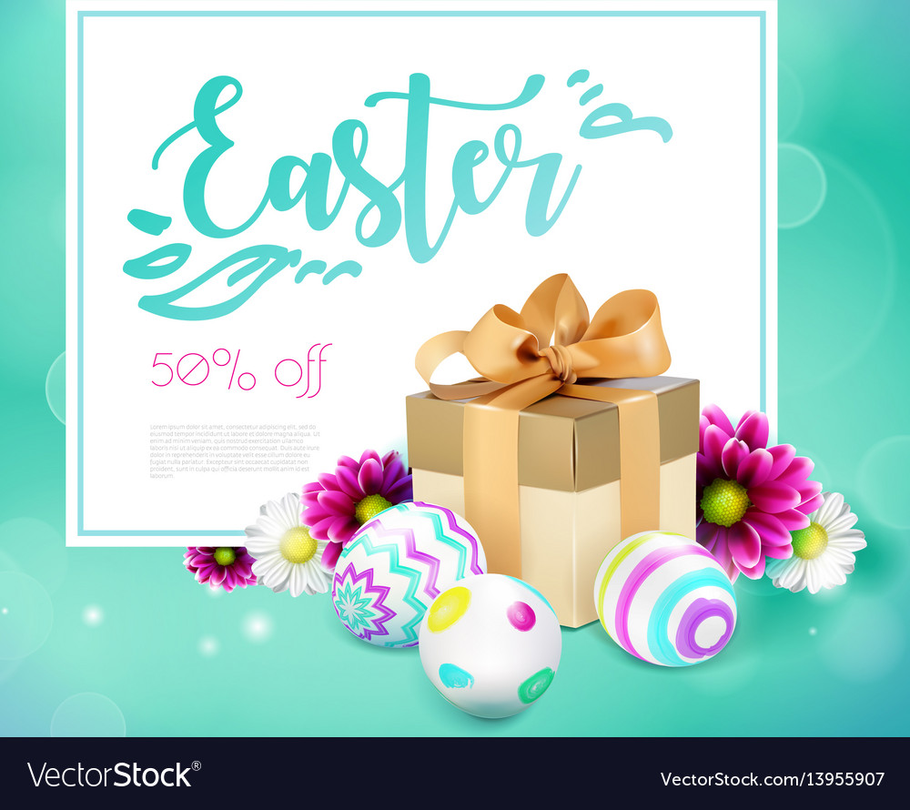 Easter card with gift box eggs and flowers