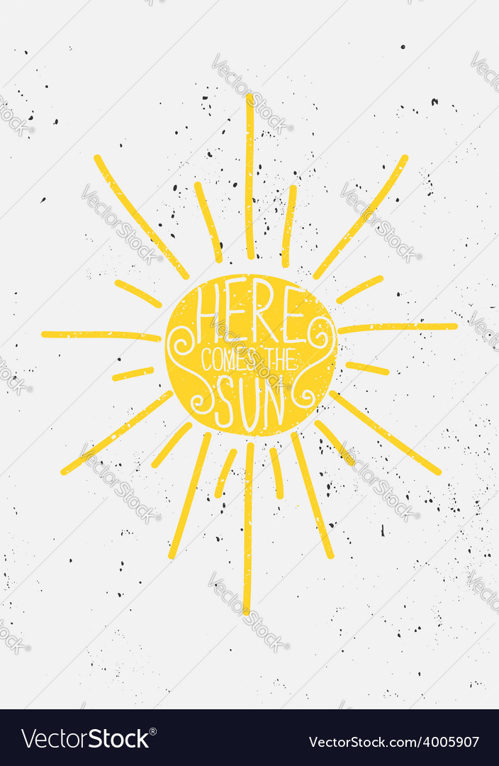 Hand drawn sun typographic design