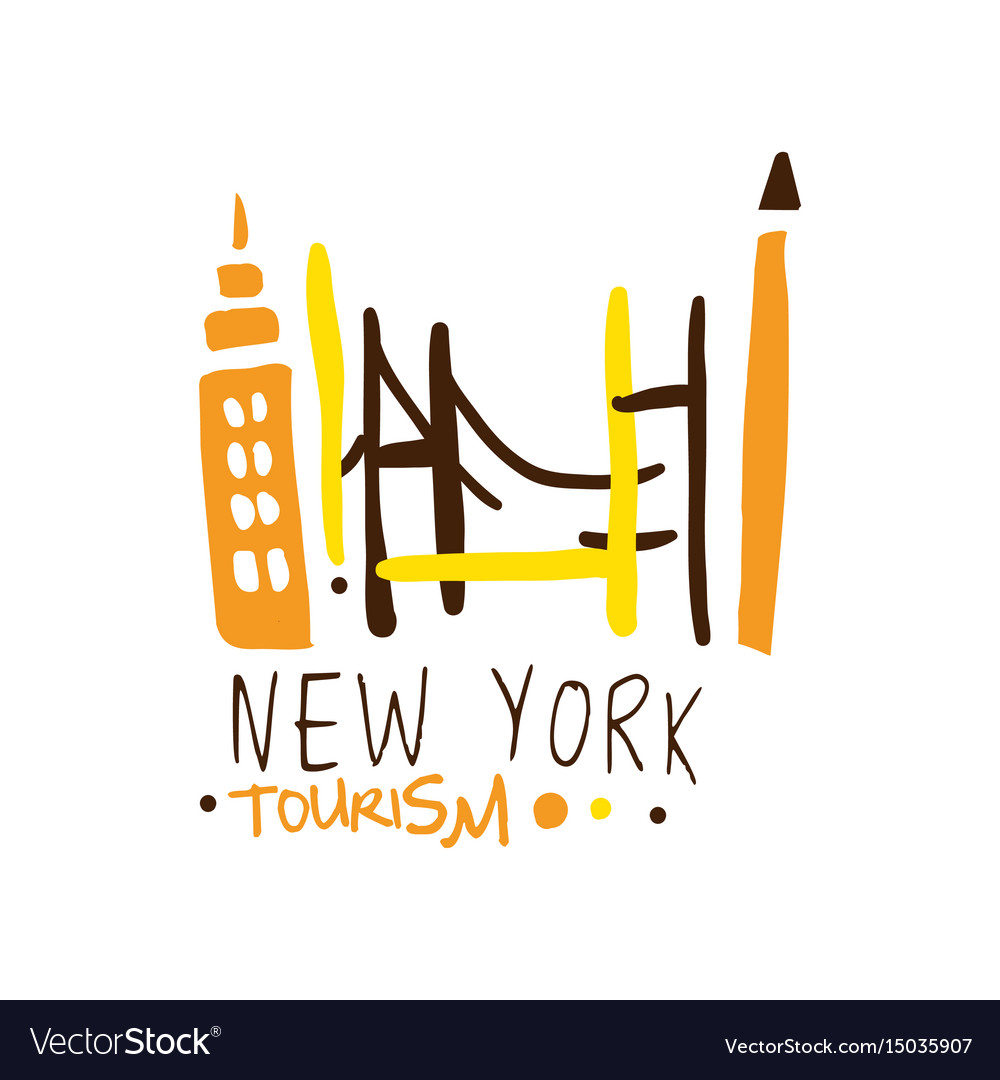 New york tourism logo template hand drawn