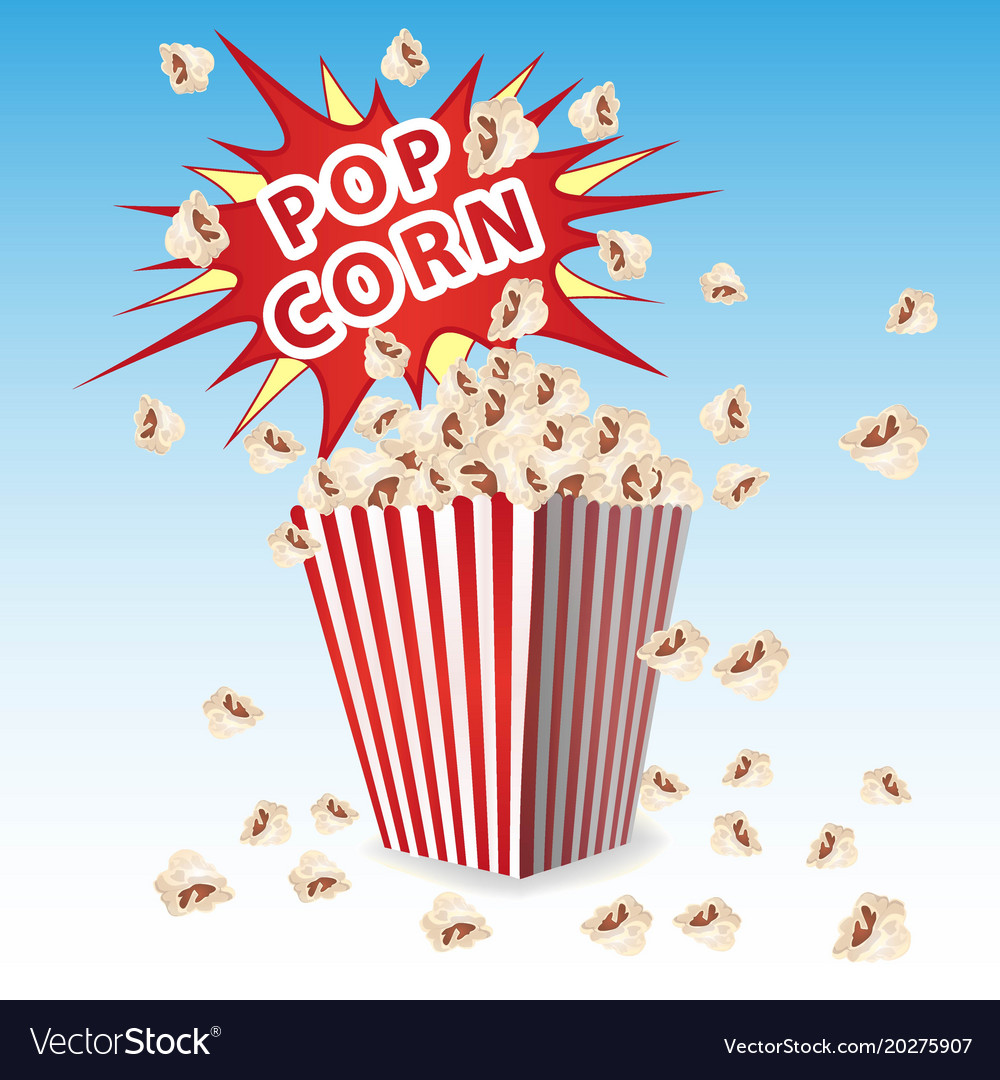 Popcorn in a striped container the explosion