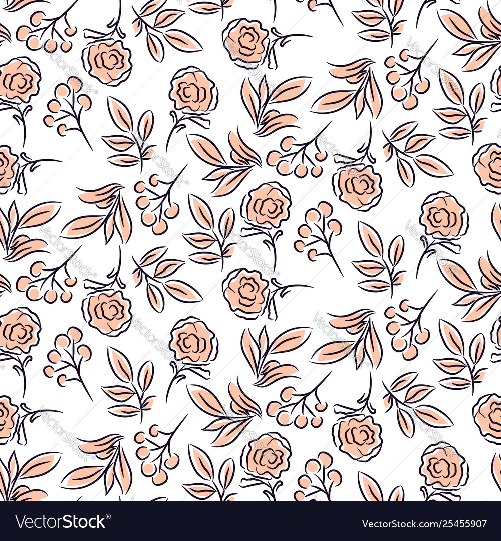 Seamless pastel hand drawn flower and branches