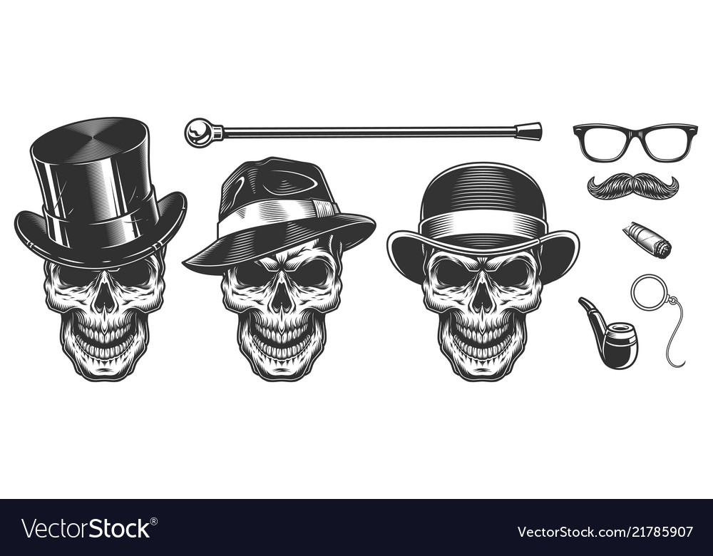Set of gentlemen skulls