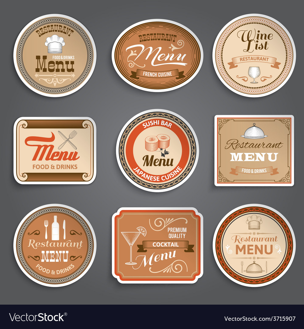 Vintage Menu Labels