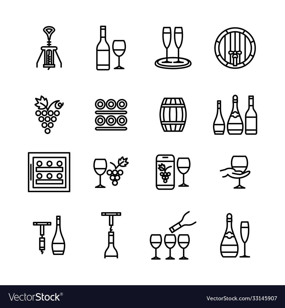 Wine icons line art editable stroke set