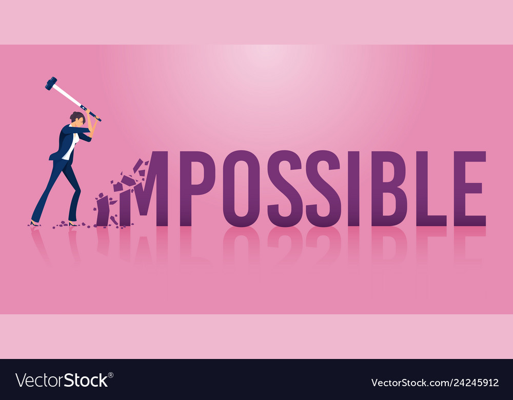 Businesswoman destroying the word impossible