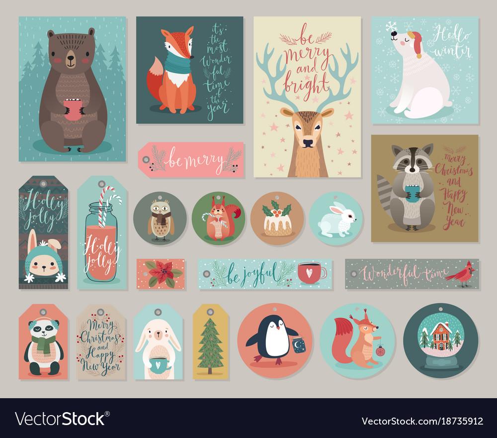 Christmas cards and gift tags set hand drawn