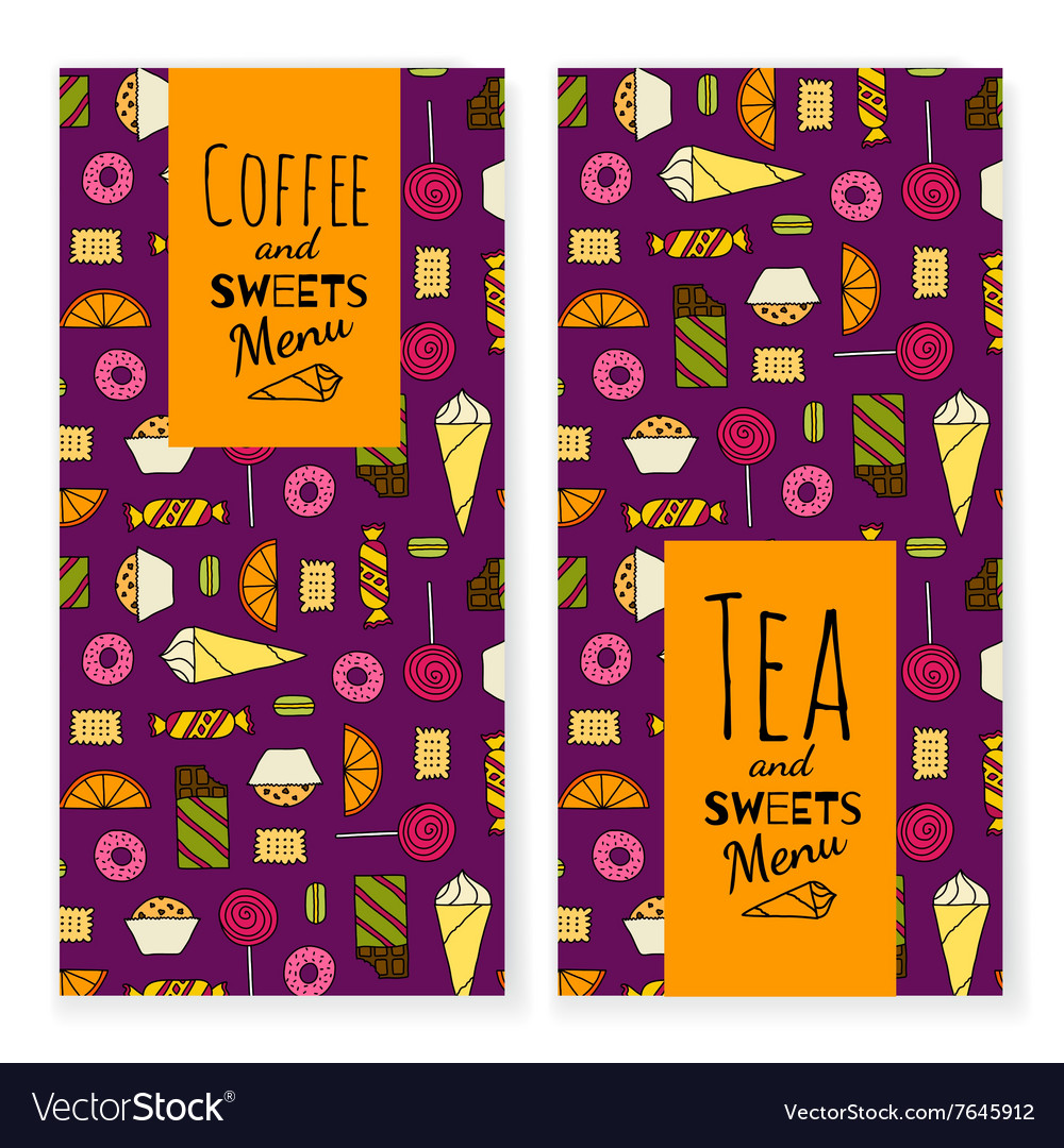 Colorful dessert menu template with typographic on vector image