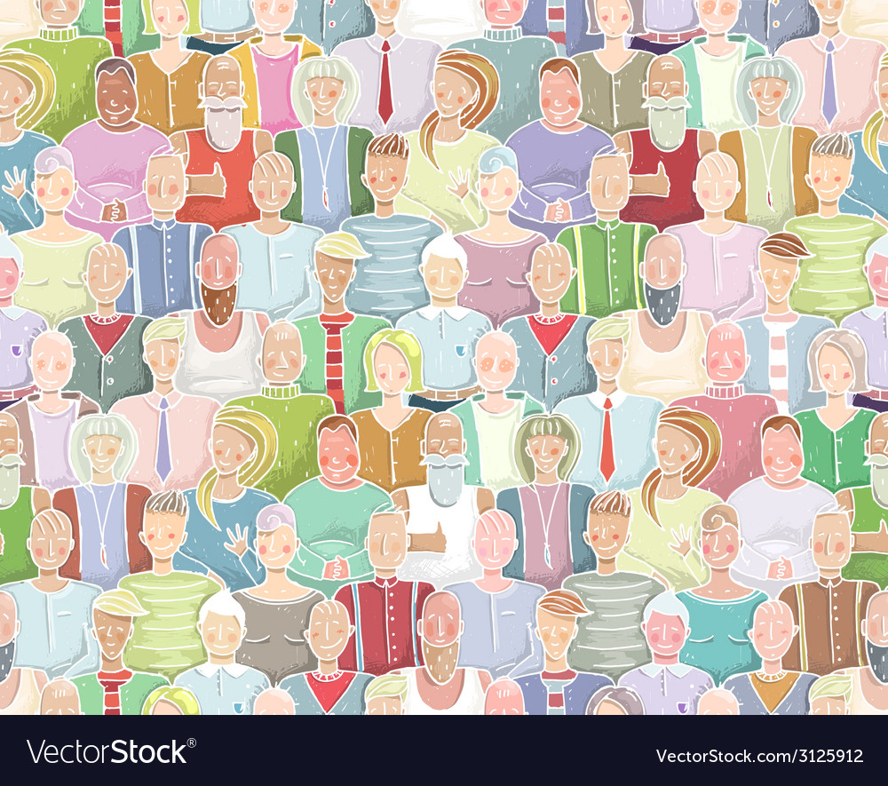 Colorful People Background Seamless Pattern