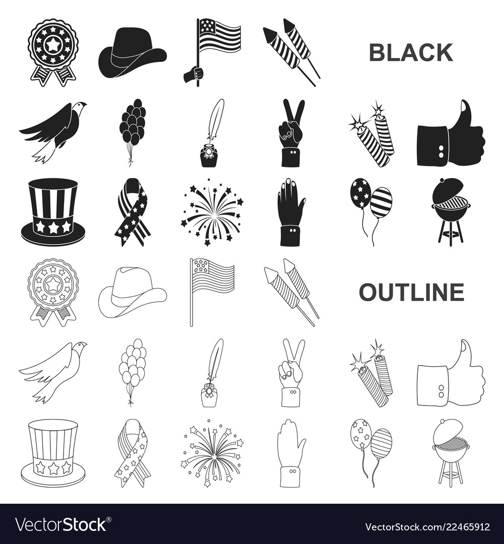 Day of patriot holiday black icons in set