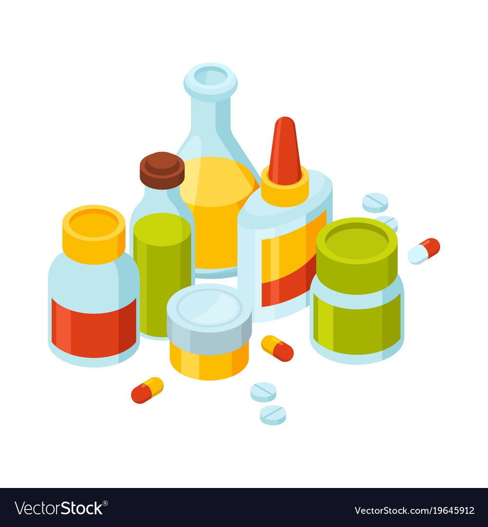 Different bottles with pills and drugs