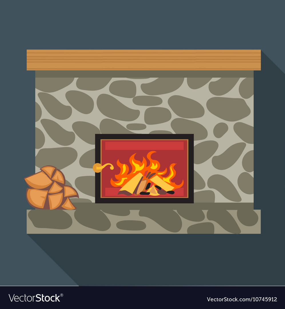 Digital fireplace room with burning wood
