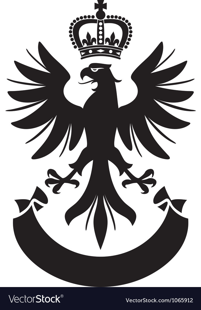 Eagle with crown and banner vector image