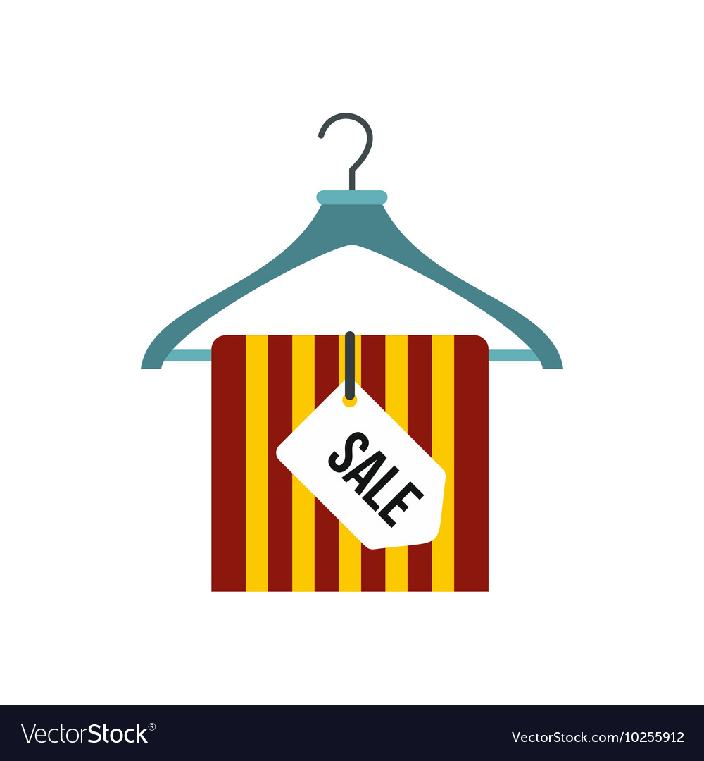 Hanger with sale sign icon flat style vector image