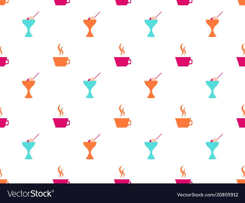 Ice cream seamless pattern coffee mug icons