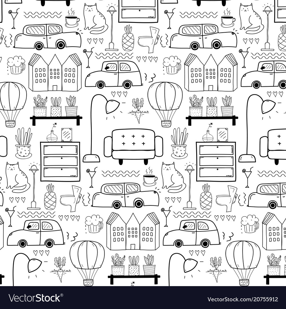 Line hand drawn doodle living pattern background vector image