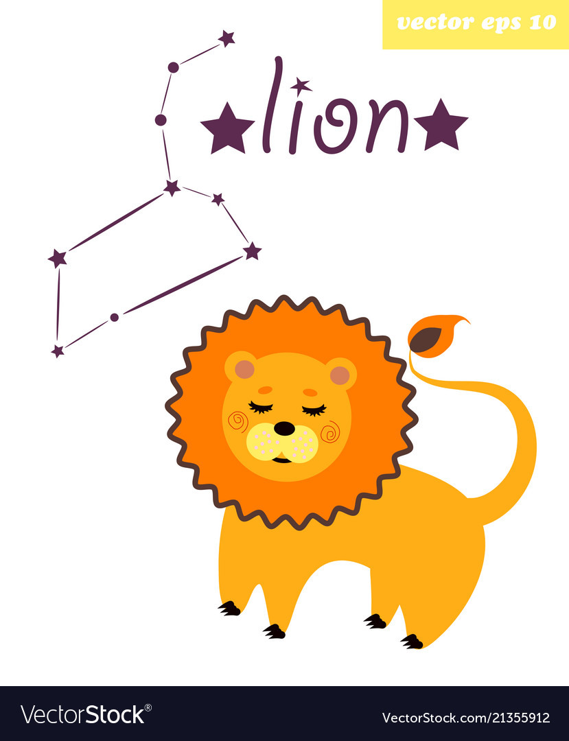Lion constellation with star sign