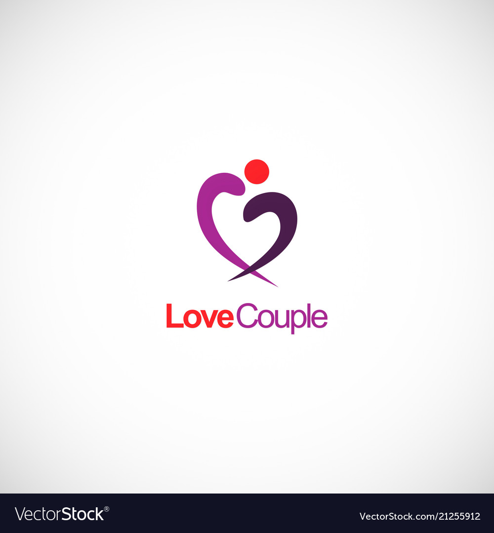 Love couple abstract heart logo
