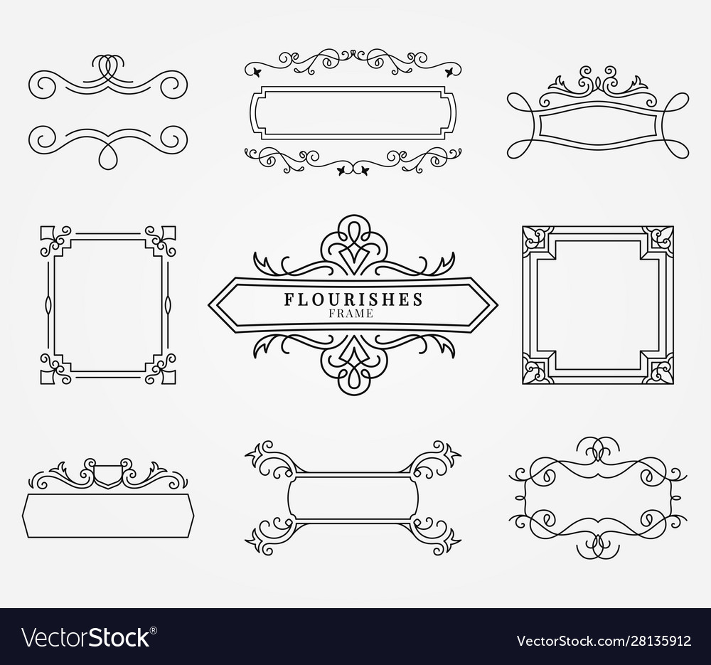 Ornamental frame and ribbons set
