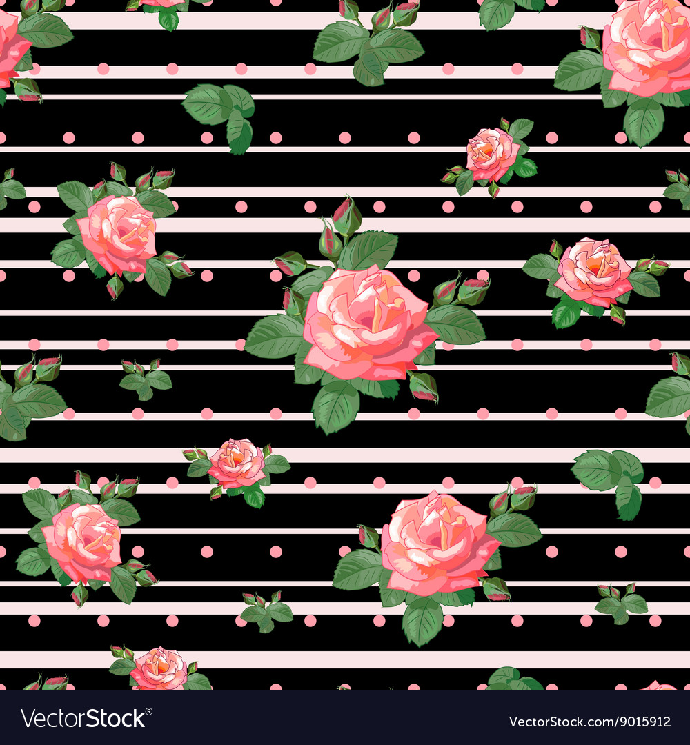 Pattern with Roses and Black Stripes vector image