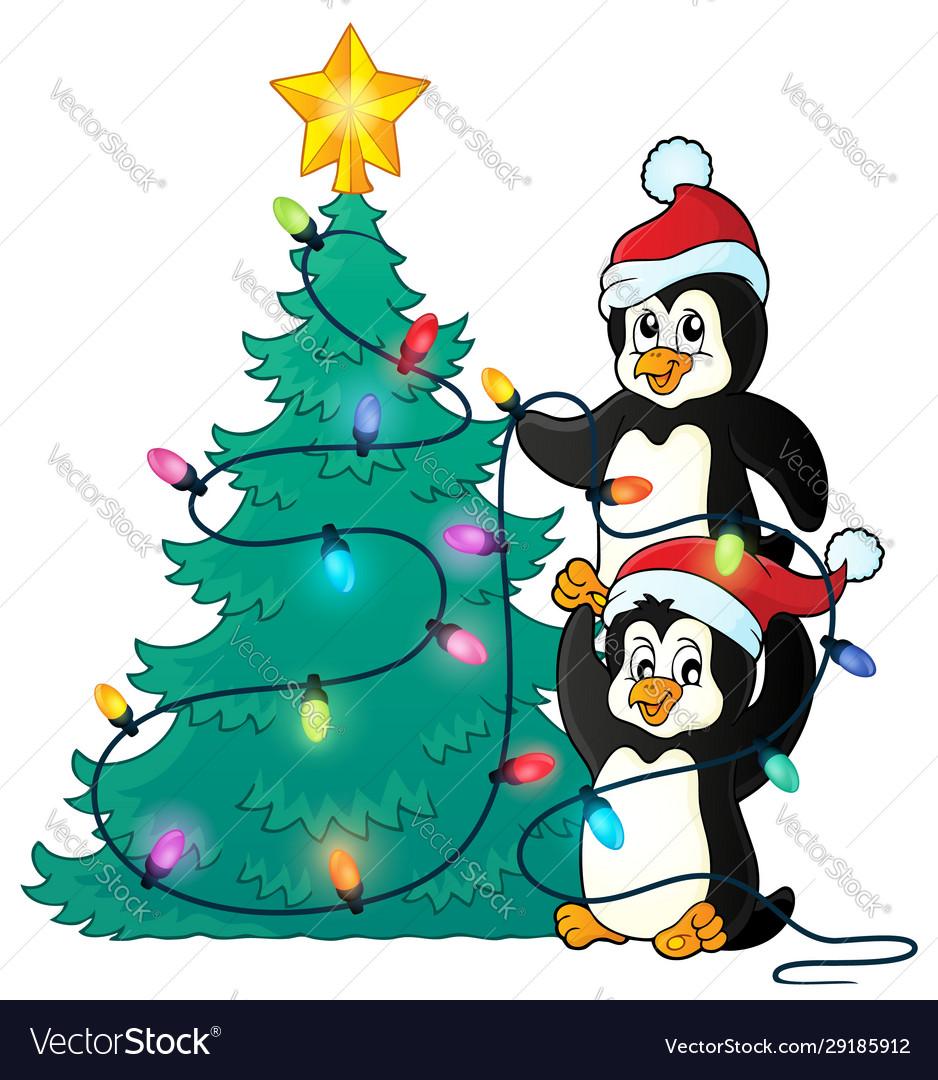 Penguins Near Christmas Tree Theme 1 Royalty Free Vector
