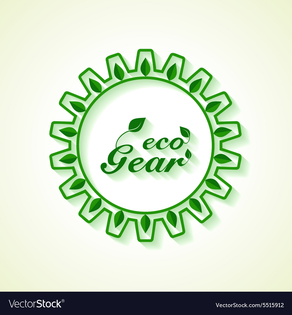 Save Nature concept with leaf and gear