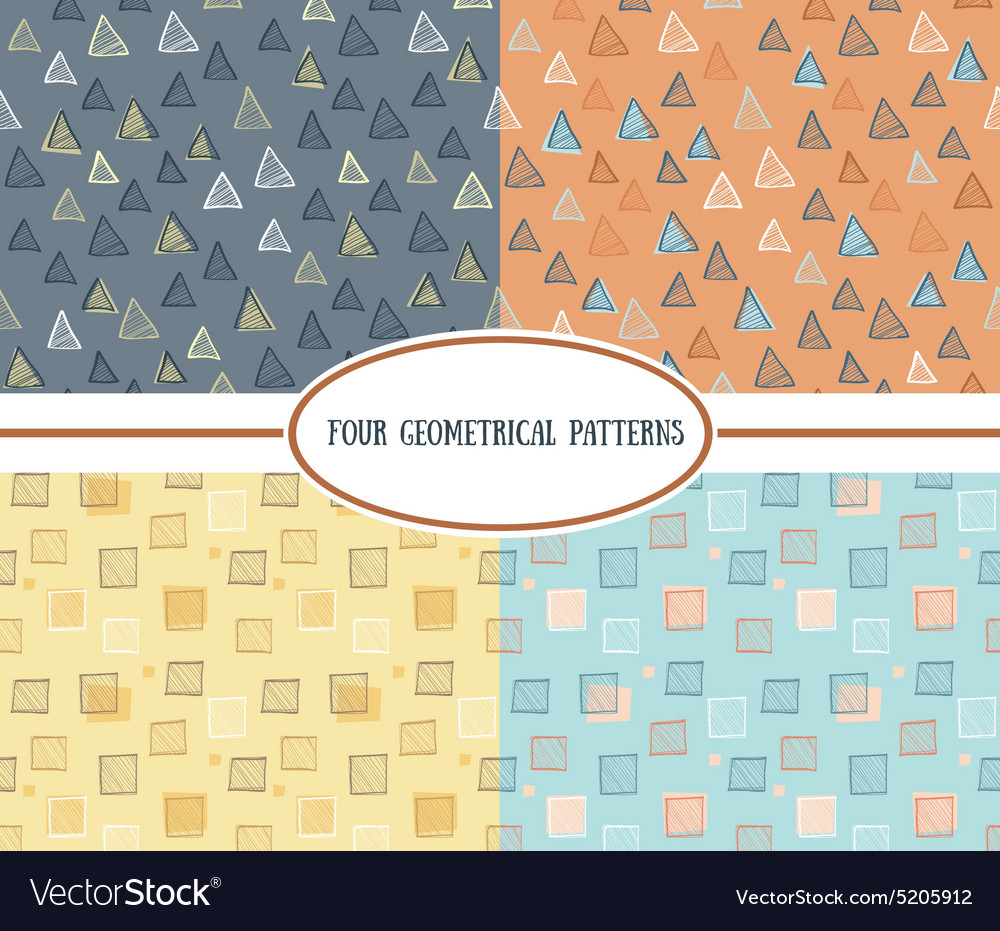 Set of seamless abstract geometric colorful