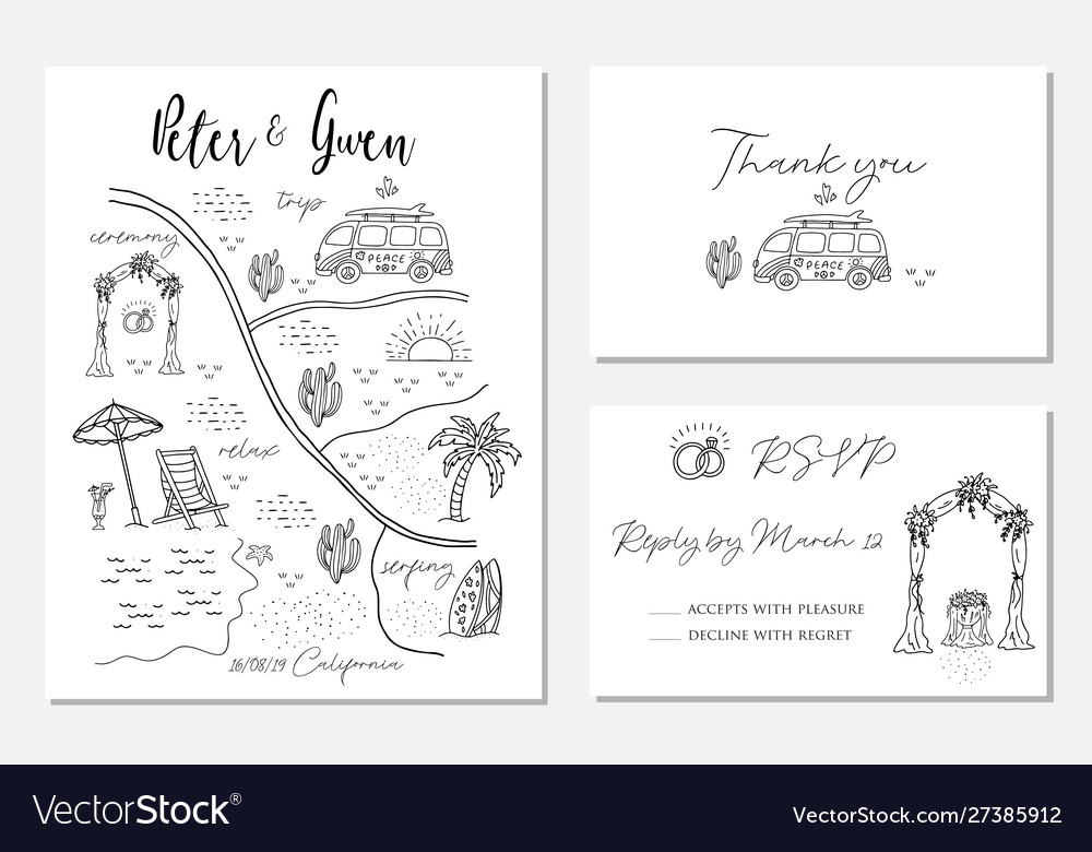 Set wedding invitation cards with map
