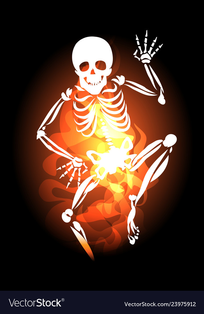 Skeleton jumps out of hell fire