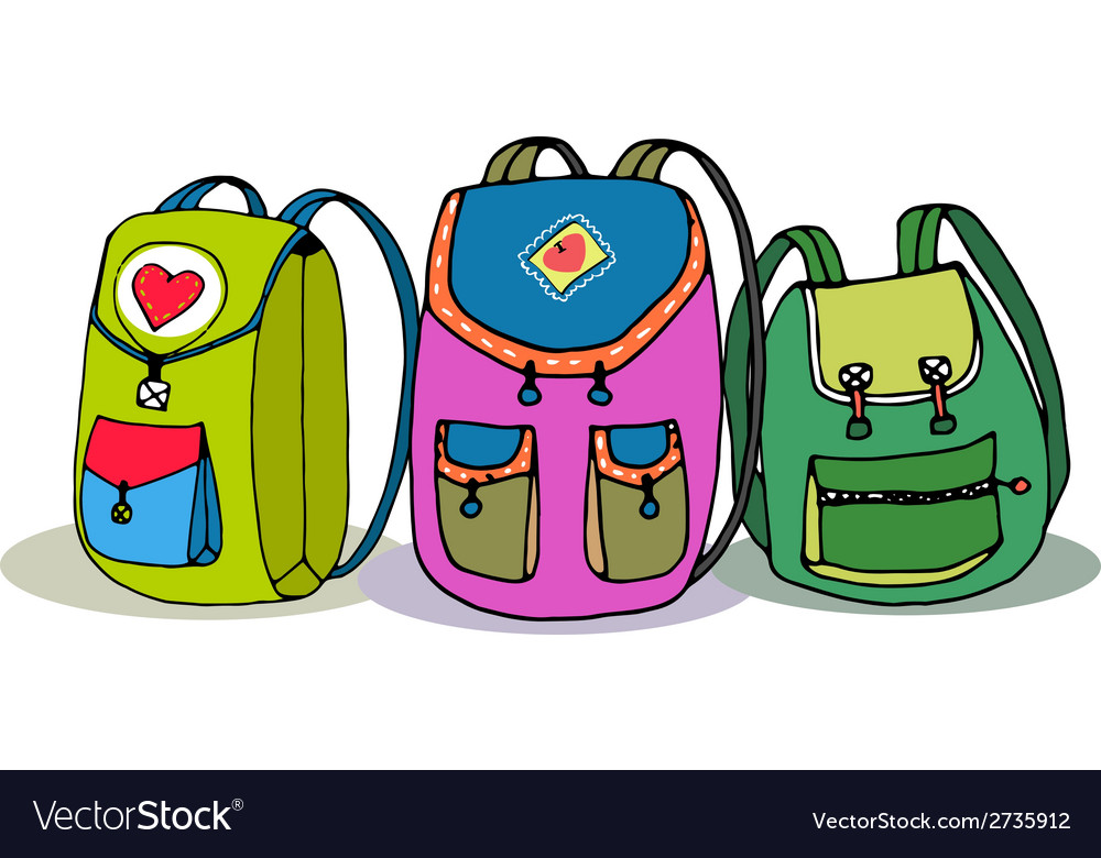 77b5a15d0d Three Colorful Children Backpacks Royalty Free Vector Image