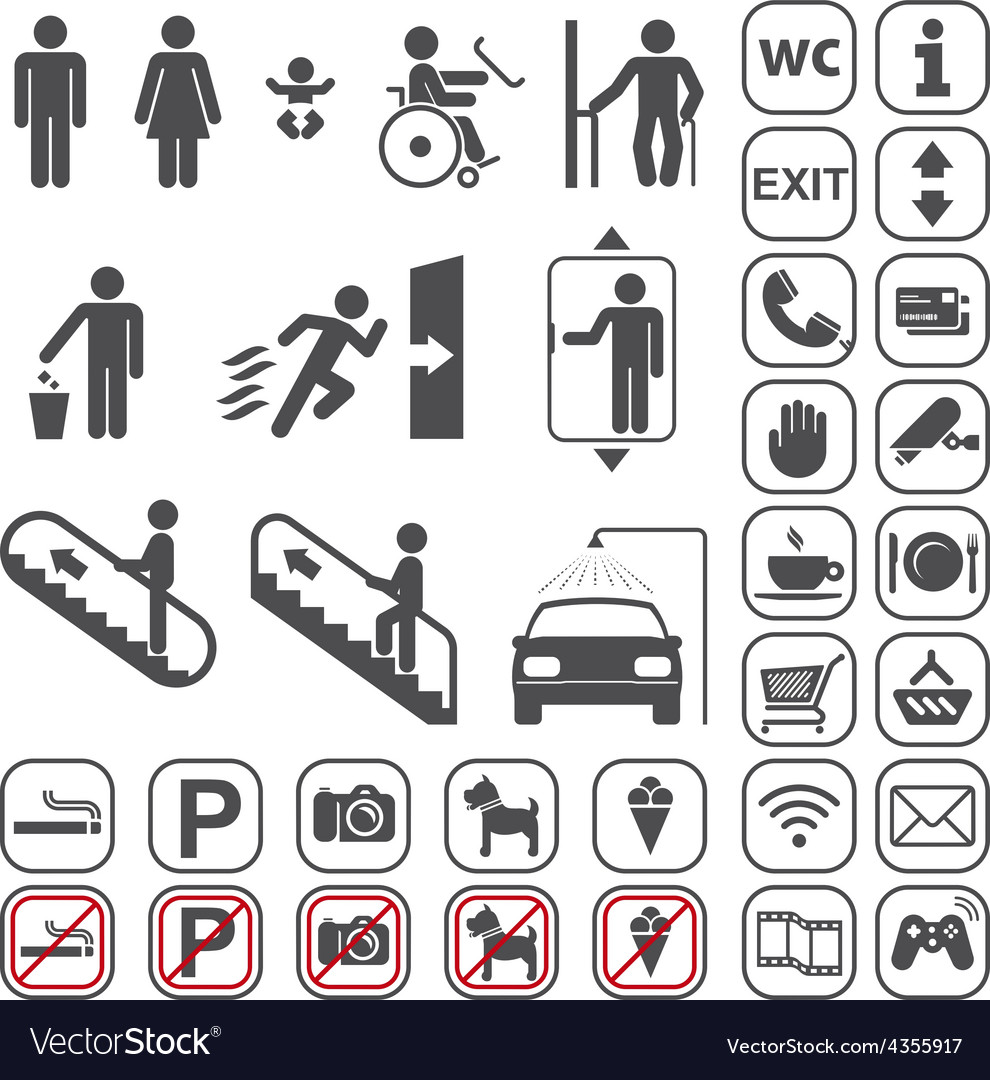 Airport Shopping mall Icons set