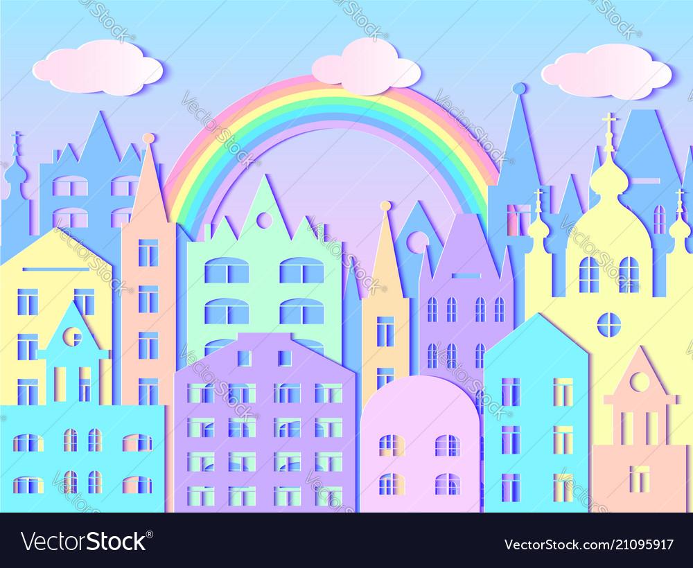 Big city rainbow and clouds