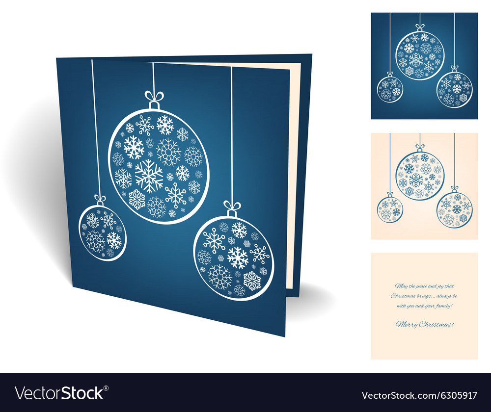 Blue christmas greeting card with balls from